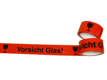 PP-Klebeband, rot – Vorsicht Glas