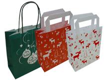 Papier-Tragetaschen mit Weihnachtsmotiv bedruckt