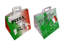 Papier-Tragetaschen mit Pizzamotiv bedruckt
