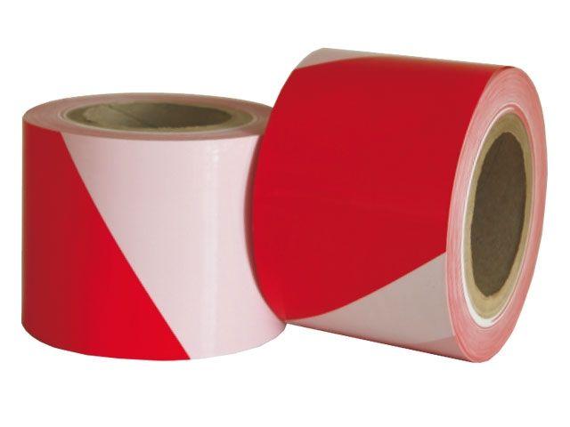 HDPE-Absperrband, rot-weiß - 75mmx100m - 35µ