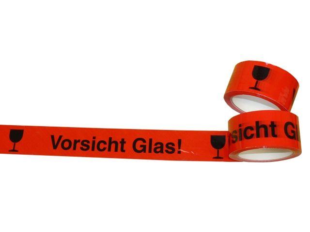PP-Klebeband, rot - Vorsicht Glas