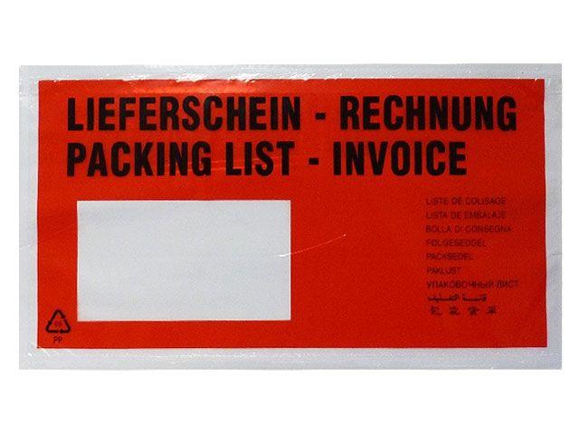 Begleitpapiertaschen, rot - DIN Lang - Lieferschein / Rechnung - 235x130 mm