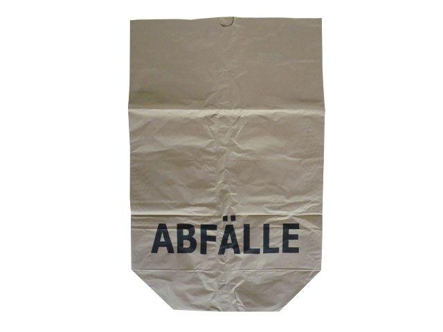 Papier-Abfallsäcke, braun - 2-lagig 2x70g/m² - Druck Abfälle 70 L - 550x850+200 mm