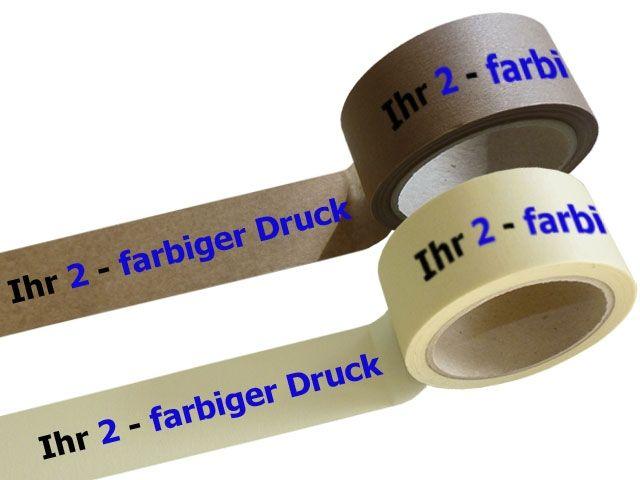 bedrucktes Papierklebeband, mit 2-farbigen individuellemPositiv-Druck - mit Naturkautschukklebstoff