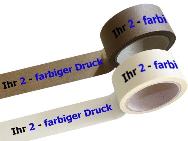 bedrucktes Papierklebeband, mit 2-farbigen individuellemPositiv-Druck - mit synthetischem Kautschukklebstoff