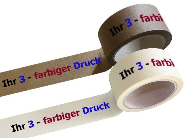 bedrucktes Papierklebeband, mit 3-farbigen individuellemPositiv-Druck - mit synthetischem Kautschukklebstoff