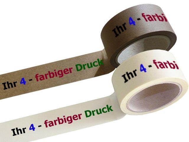 bedrucktes Papierklebeband, mit 4-farbigen individuellemPositiv-Druck - mit synthetischem Kautschukklebstoff
